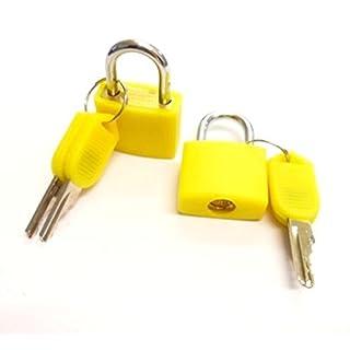 Distinct® 2pcs Travel Tiny Suitcase Lock Drawer Cabinet Toolbox Padlock Gym Lockers Keys(Yellow)