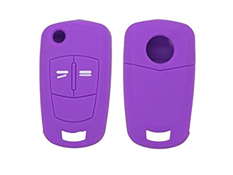 Happyit 2pcs Housse de protection pour voiture en silicone Pour Vauxhall Opel Corsa D Astra Vectra 2 Boutons Clé à distance (Violet)