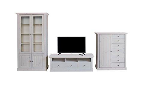 Steens Group 7317012013001F Wohnwand, Kiefer massiv, Holz, weiß, 56 x 355 x 190 cm
