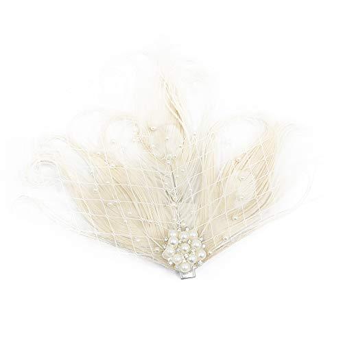 HIDOLL Haarband mit Federn für Cocktail-Party, Haarschmuck für Frauen, Vintage-Stil, Flapper, funkelndes Haarband, Gatsby-Feder-Kopfbedeckung Gr. 90, A-white Feder Cocktail