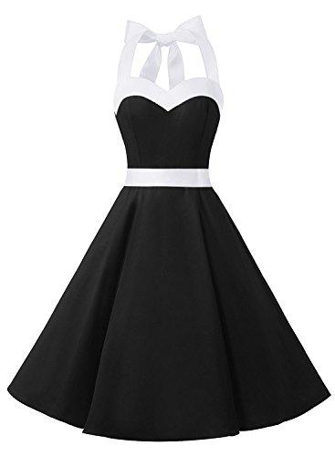 Dresstells Neckholder Rockabilly 50er Vintage Retro Kleid Petticoat Faltenrock Black White XS