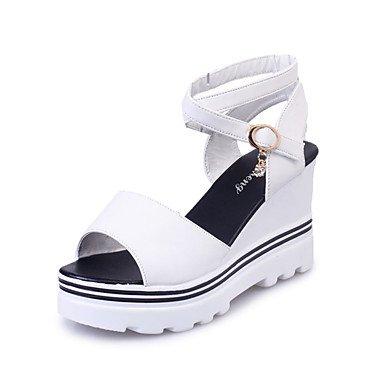 Sandali Primavera Estate Autunno Slingback Club scarpe cinturino alla caviglia PU outdoor casual Tacco a cuneo di pizzo nero su bianco rosso a piedi White