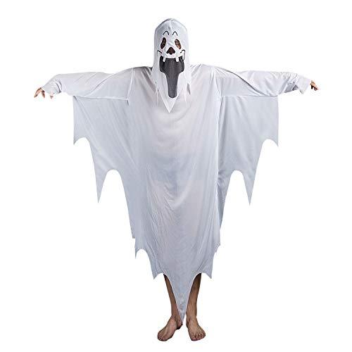 JINTN Halloween Schrecklich White Ghost Kostüm mit Kapuze für Kinder Erwachsene Mumie Cosplay Robe für Cosplay Party Kleidung, Erwachsene Modell (Für Erwachsene Ghost Robe Kostüm)