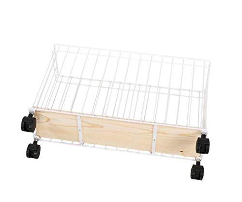 Shelf Home Küche Gesteppte Lagerregal, Gap Holzplatte Lagerregal Hand Korb, bewegliche Metall hohe Kapazität Rollwagen, für Küche, Wohnzimmer mit Rädern -