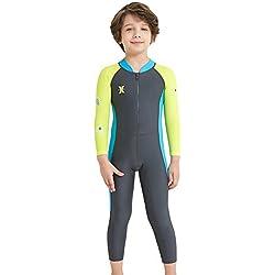 Maillot de Bain Combinaison Enfant Garçon Combinaison de Plongée Manches Longues Anti UV UPF50+ pour 5-6 ans Couleur Gris Foncé