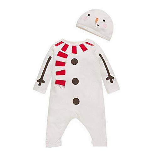 WEIMEITE Newborn Christmas Clothes Set Baby Boy Girl Renna Costume Vestiti Deer Pagliaccetto Tuta + Cappello Abiti Bianco 90 cm