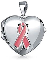 Bling Jewelry 925 Silver Pink Ribbon Concienciación sobre el Cáncer Corazón Colgante Locket