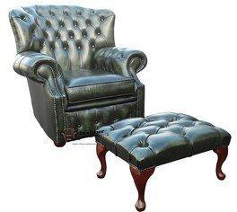 Silla de respaldo alto Chesterfield monjes ala verde antiguo sillón f