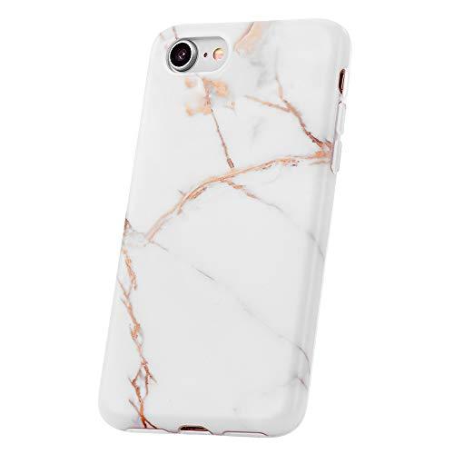 QULT Handyhülle kompatibel mit iPhone 8, iPhone 7 Hülle Marmor Weiß dünn weich Silikon Schutzhülle TPU Bumper für iPhone 7/8 Matt Marble White (EINWEG)