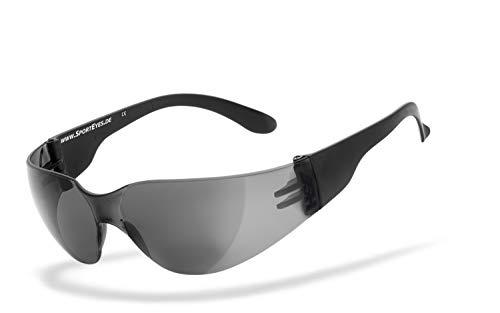 HSE SportEyes® | UV400 Schutzfilter, HLT® Kunststoff-Sicherheitsglas nach DIN EN 166 | Sportbrille, Radbrille, Sonnenbrille | Brillengestell: schwarz matt, Brille: Sprinter 2.0