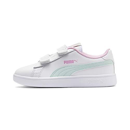 Puma Unisex-Kinder Smash v2 L V PS Sneaker,Weiß (Puma White-Fair Aqua-Pale Pink), 34 EU