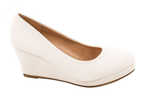 Elara Damen Pumps Keilabsatz Wedges Schuhe mit Plateau |Chunkyrayan B8011Y-PM-Weiss-39
