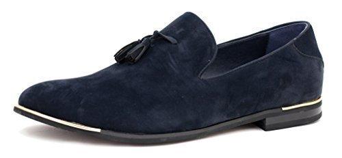 JAS HOMME DESIGN chaussures daim à Enfiler Mocassins à glands Bleu Marine