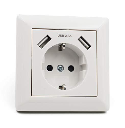 Jindia Schuko Enchufe para la pared con 2 puertos de carga USB,...