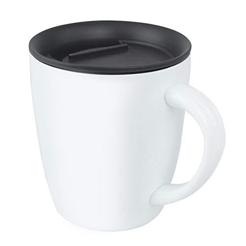 xMxDESiZ 380ml Doppelschicht Edelstahl Kaffee Tee Becher Isolierte Wasser Tasse mit Deckel Weiß