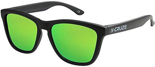 X-CRUZE® 9-070 X0 Nerd Sonnenbrillen polarisiert Style Stil Retro Vintage Retro Unisex Herren Damen Männer Frauen Brille Nerdbrille - schwarz matt LW/hellgrün verspiegelt