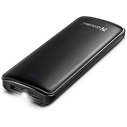 Coolreall Batterie Externe 2 Ports USB pour iPhone X 8 7 6S 6 Plus, iPad, Samsung Galaxy S8, Huawei et Autres Smartphones, Tablette (Noir) 15600 mAh