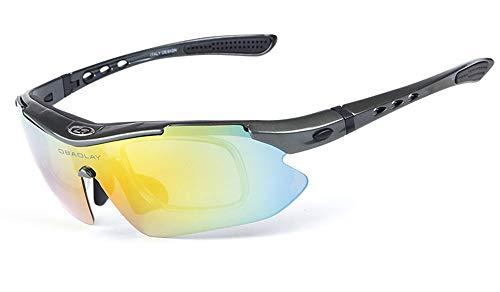 TFGY Polarisierte Sport-Sonnenbrille, UV 400-Schutz Unzerbrechliche Sportbrille mit 5 Wechselobjektiven, Herren und Damen im Radsport Skifahren Angeln Golfen,J