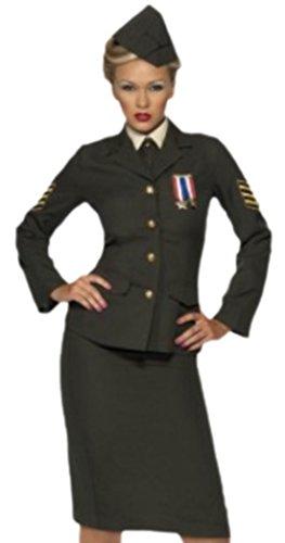 Erwachsene Karnevalskomplettkostüm Offizier Lady mit Hut, XXL, Braun (Deutscher Offizier Hut)