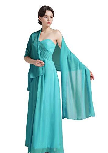 Damenschal aus Chiffon, für Brautjungfern Hochzeit Party Abendkleid, Shawl-01-Turquoise, Türkis, Shawl-01-Turquoise