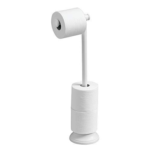 mDesign Portarrollos de pie con Soporte para Papel higiénico - Sencillo y Elegante portarrollos sin Taladro - Almacenaje de baño para 4 Rollos de Papel higiénico - Color: Blanco