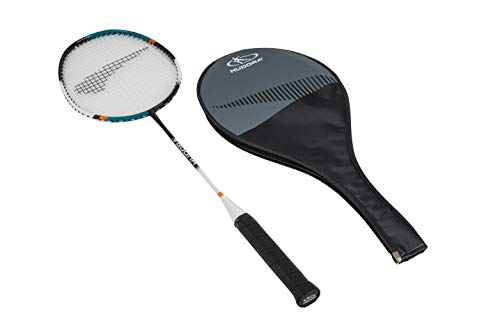 HUDORA Erwachsene und Kinder Allround Badminton-Schläger Champ inkl. Schutz-Hülle Alu-Rahmen & Carbon-Schaft, bunt, 67 x 20 x 2,8 cm -