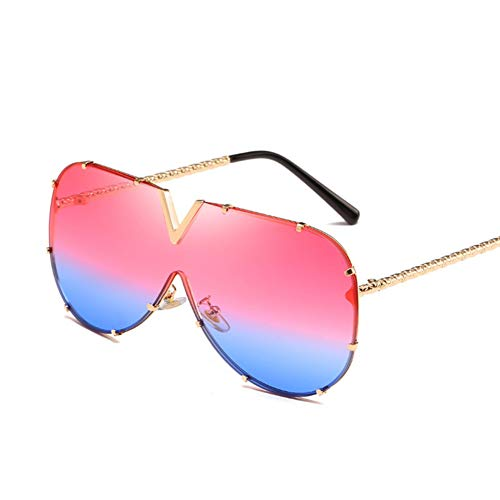 Wenkang Fashion Designer Sunglasses Women Men Metal Frame Oversized Sun Glasses Uv400 Sunglasses Mirror Eyewear Shades,5