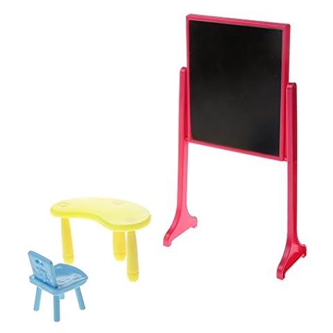 Gazechimp Ensemble Tableau Noir Table et Chaise En Plastique école Accs pour Poupée Barbie Kelly Dolls