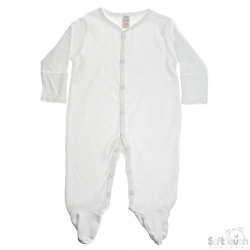 Dors bien bébé 100% coton brossé avec moufles sur le poignet - 3-6 mois Blanc. Soft Touch