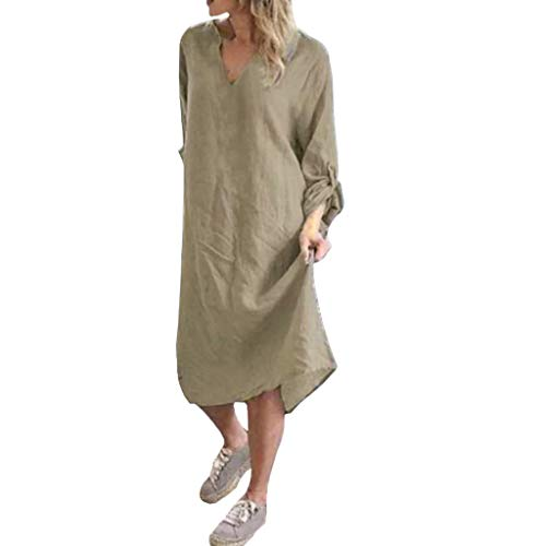 Baumwolle und Leinen Kleid Damen V-Ausschnitt einfarbig locker Rundhals T-Shirt Kleid lässig langärmeliges knielanges Kleid Sonojie