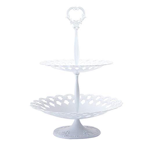 Utimate 2 Tier Vintage White Cake Stand, Metall Hochzeit Obst Snack Teller, Retro Dessert Tablett für Hochzeitsfeier
