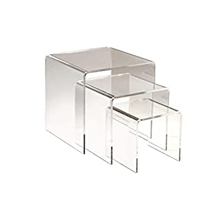 Adorox Set of 3 Clear Acrylic Display Riser (3