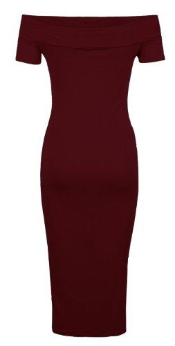 Fast Fashion- Abito longuette da donna, senza spalle, maniche corte Vino