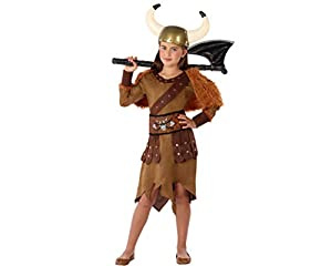 Atosa-61487 Atosa-61487-Disfraz Vikinga-Infantil Niña, Color marrón, 5 a 6 años (61487