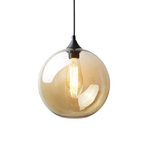 HJXDtech® Moderne Glas Kugel Lampenschirm Pendelleuchte Vintage Industrial Deckenleuchte Hängelampe 25cm Anhänger-hängendes Licht (Bernstein) - Glühbirne Aus Glas Anhänger