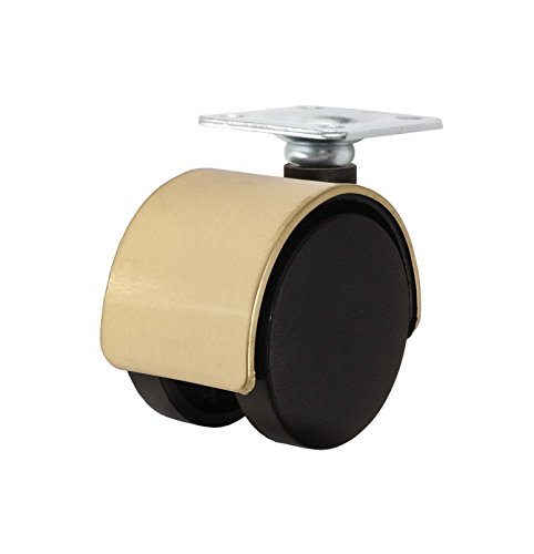 Twin Wheel Caster Solutions TWHN-50N-P02-BR 2 Diameter Nylon Wheel Hooded Non-Brake Caster with Top Plate, 1.5 x 1.5 Plate, 1 x 1 Bolt Hole Pattern, 110 lb Capacity Range by Twin Wheel Caster Solutions (Top Plate Bolt)