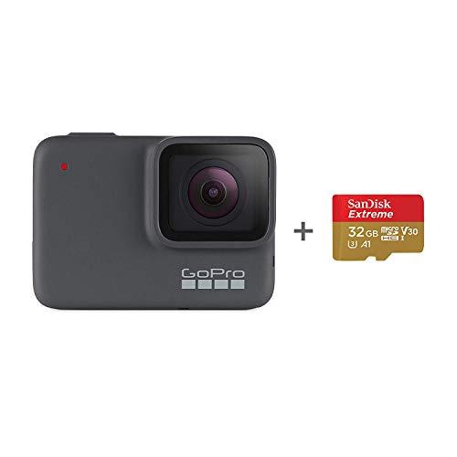 GoPro HERO7 Silver + SanDisk - Tarjeta de Memoria de 32 GB (Impermeable, cámara de acción Digital con Pantalla táctil, vídeo HD 4K, Fotos de 10 MP)