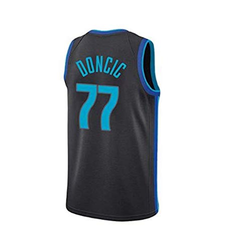 NBA-Trikot Für Herren, 77# Mavericks Luca Dongcic Star Player, Cooles, Atmungsaktives, Klassisch Gesticktes,Ärmelloses Basketball-T-Shirt,Black,L:180cm/75~85kg - Gestickte Player