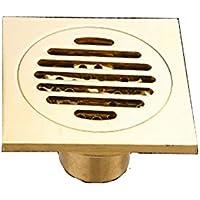 Ysuing Drenaje de Piso Cuadrado Drenaje en el Piso Cobre Todo núcleo Dorado de Cobre Desodorante Piso desagüe baño Cocina Piso Oro Doble desagüe