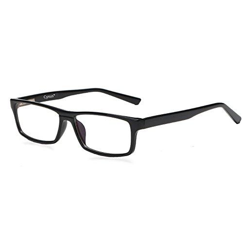 Cyxus Anti Blaulicht Rectangle Brillen, Frühling Rahmen (Transparente linse) Besser schlafblock UV Filter, Lesung/Computer Brillen, Blocking kopfschmerzen Anti Überanstrengung der Augen