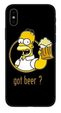 Art Design Hülle für iPhone X/iPhone XS Supreme Homer Simpson Bart Got Beer Bier Chill Soft Silikon