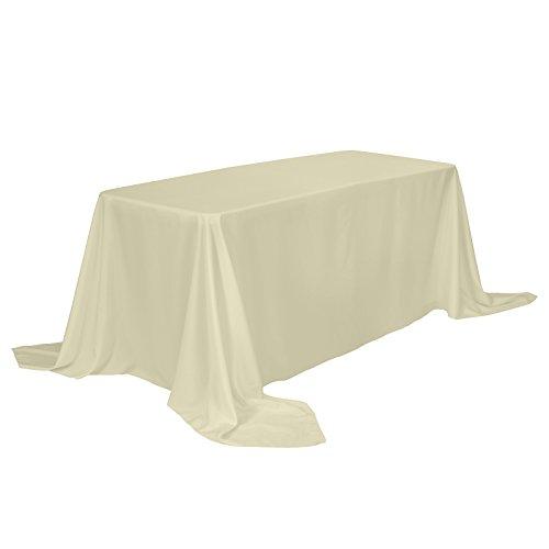 Veeyoo tovaglia rettangolare 100% poliestere tovaglia oblunga per la doccia nuziale morbido tovaglia ovale per la festa di matrimonio ristorante e tavolo da buffet (beige m inv, 229x335 cm)