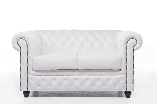 Original Chesterfield Sofa und Sessel – 1 / 1 / 2 Sitzer – Vollständig Handgewaschenes Leder – Weiß