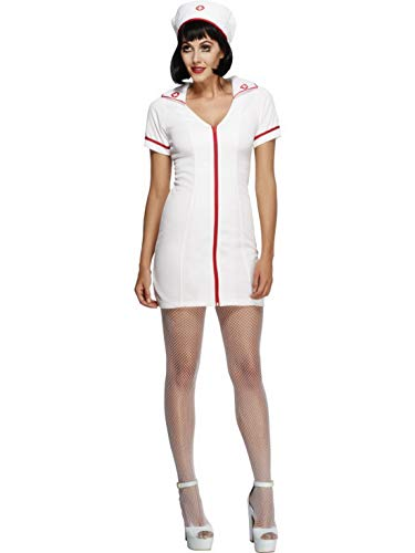 Fancy Ole - Damen Frauen Frauen kurzes heißes Krankenschwester Kostüm mit Kleid und Haube, perfekt für Karneval, Fasching und Fastnacht, L, Weiß (Krankenschwester Heißes Kostüm)