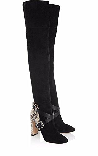 Donna su ginocchio coscia stivali ruvido tacco scarpe nero pelle scamosciato serpentina Stitching appuntito autunno inverno Black