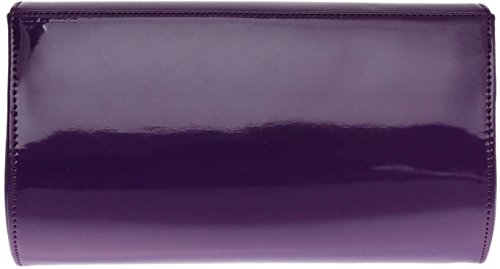H&G Ladies Patent Glossy Fashion Clutch  Evening Bag (Flesh) Purple