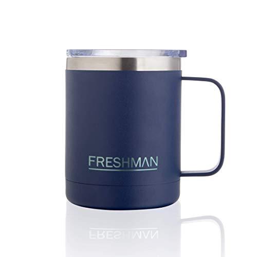 Freshman doppelwandiger Vakuum-Thermobecher | Isolierbecher | Kaffeebecher to go aus 18/8-Edelstahl mit Deckel und Griff | Coffee to go Becher mit Henkel | Mehrwegbecher 350 ml