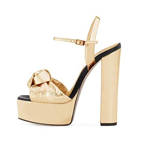 Damen Gold Plattform Sandale, Block Extreme High Heel, Fashion New Mules Hochzeit, Kleid, Party Schuhe, Sommer Knöchelriemen Stiletto Heels,Gold,42EU