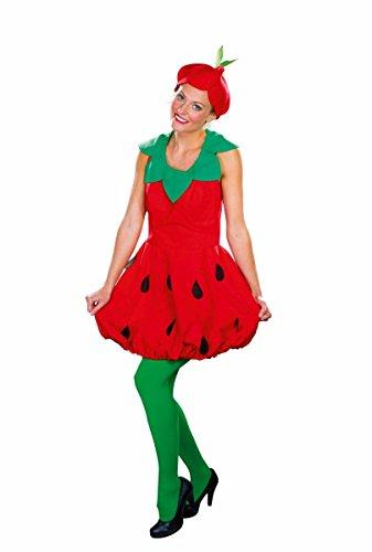 Festartikel Müller Damen Kostüm Erdbeere Kleid Kragen Karneval -