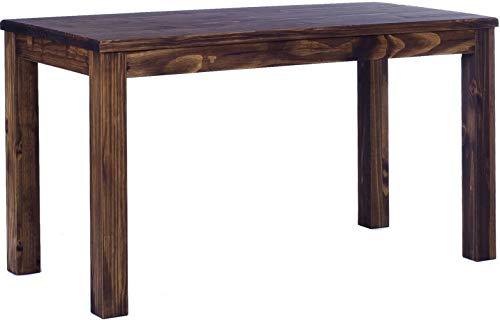 Brasilmöbel Esstisch Rio Classico 140x80 cm Eiche antik Holz Tisch Pinie Massivholz Esszimmertisch Küchentisch Echtholz Größe und Farbe wählbar ausziehbar vorgerichtet für Ansteckplatten -